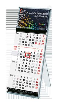Tischkalender mit buntem Logo - Der Tischständer von terminic im Mandala-Design aus umweltfreundlichem Polycarbonat hergestellt