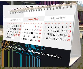 Tischkalender mit Logo - Der Zeltkalender Focus von terminic im bunten Mandala Design in der 3-Monatsansicht