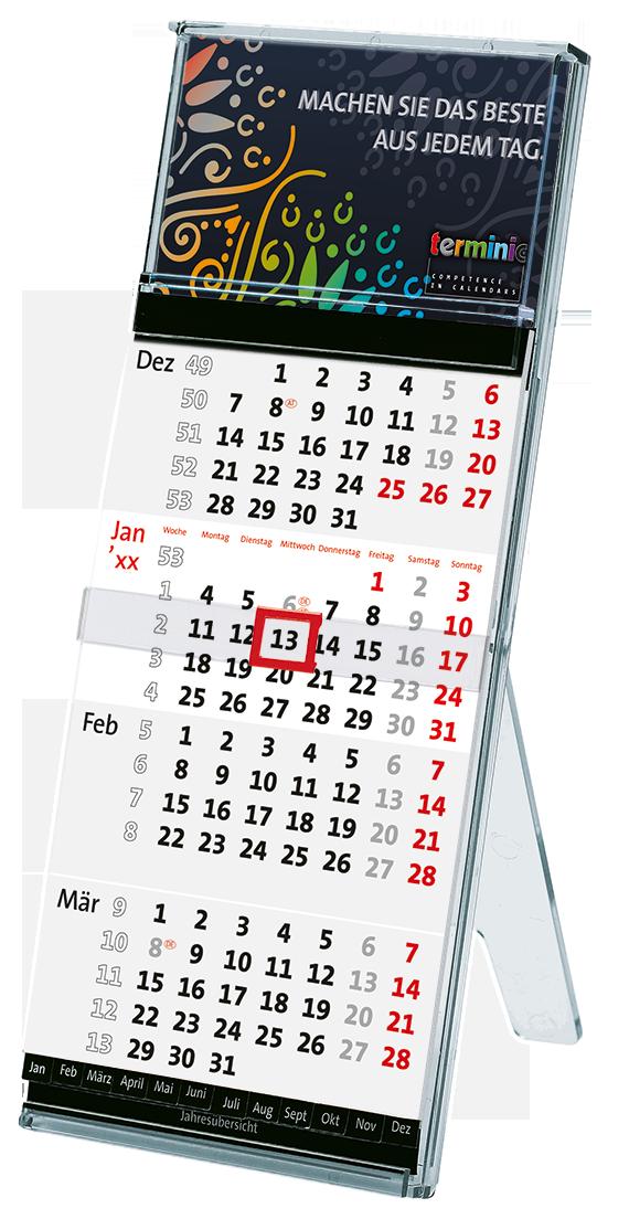 Tischkalender Büro - Der Tischständer Quadro von terminic im bunten Mandala Design aus umweltfreundlichem Polycarbonat in der 4-Monatsansicht